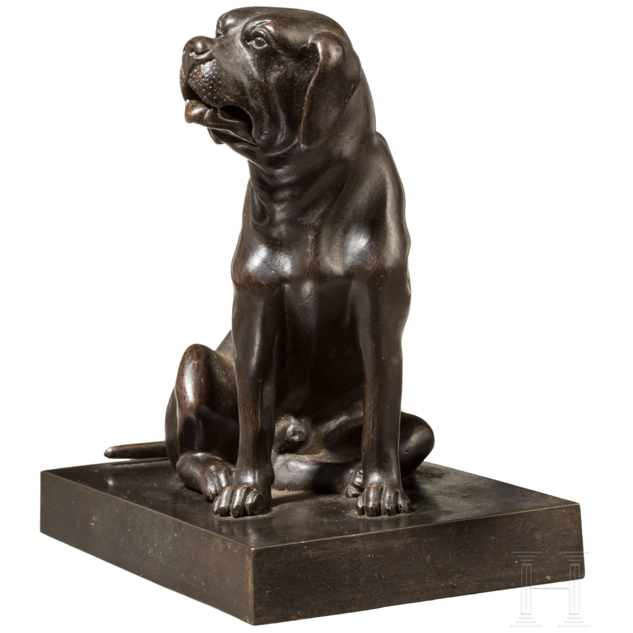 A Russian iron sculpture of a sitting dog as a card holder, Kasli, 19th century