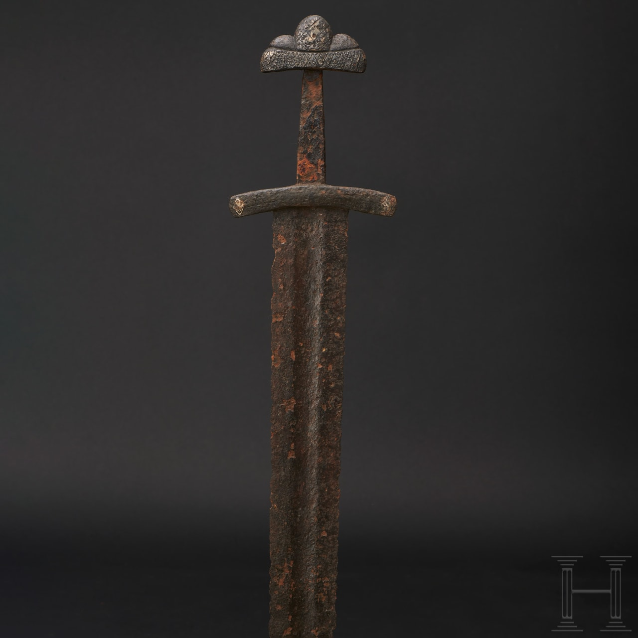 A North European Viking sword with silver inlaid hilt, 10th century