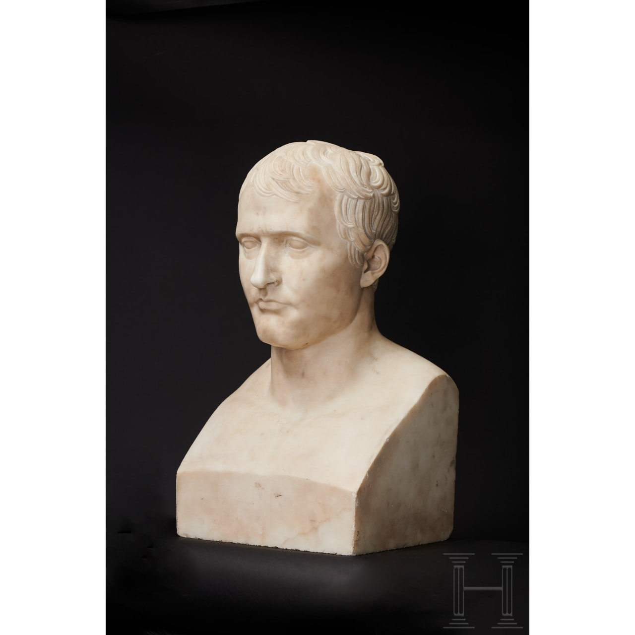 A large marble bust of Napoleon I of France, after Chaudet, 1st half of the 19th century