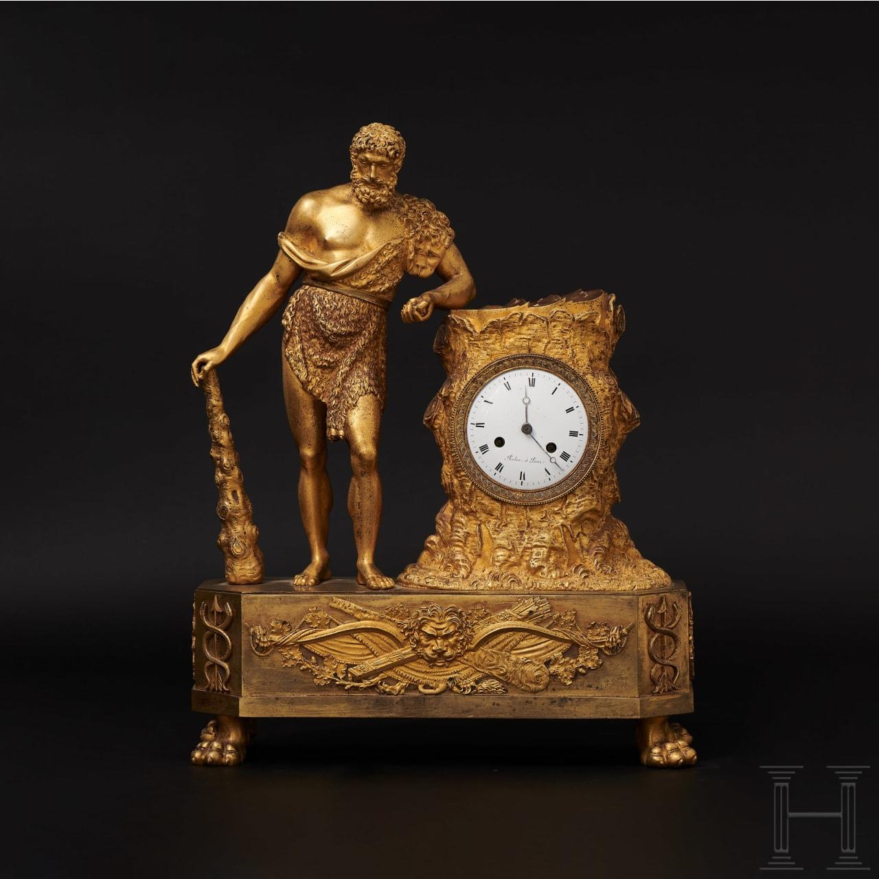 An Empire-style mantel clock with a Hercules figurine, Paris, circa 1810/15