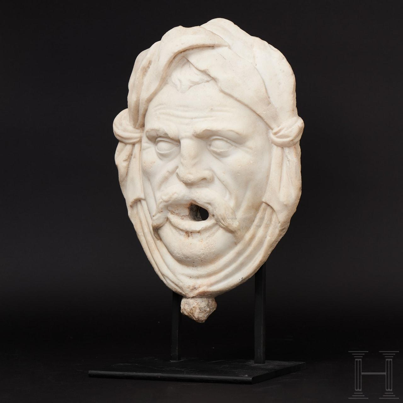 An Italian fountain mask in marble, 16th/17th century