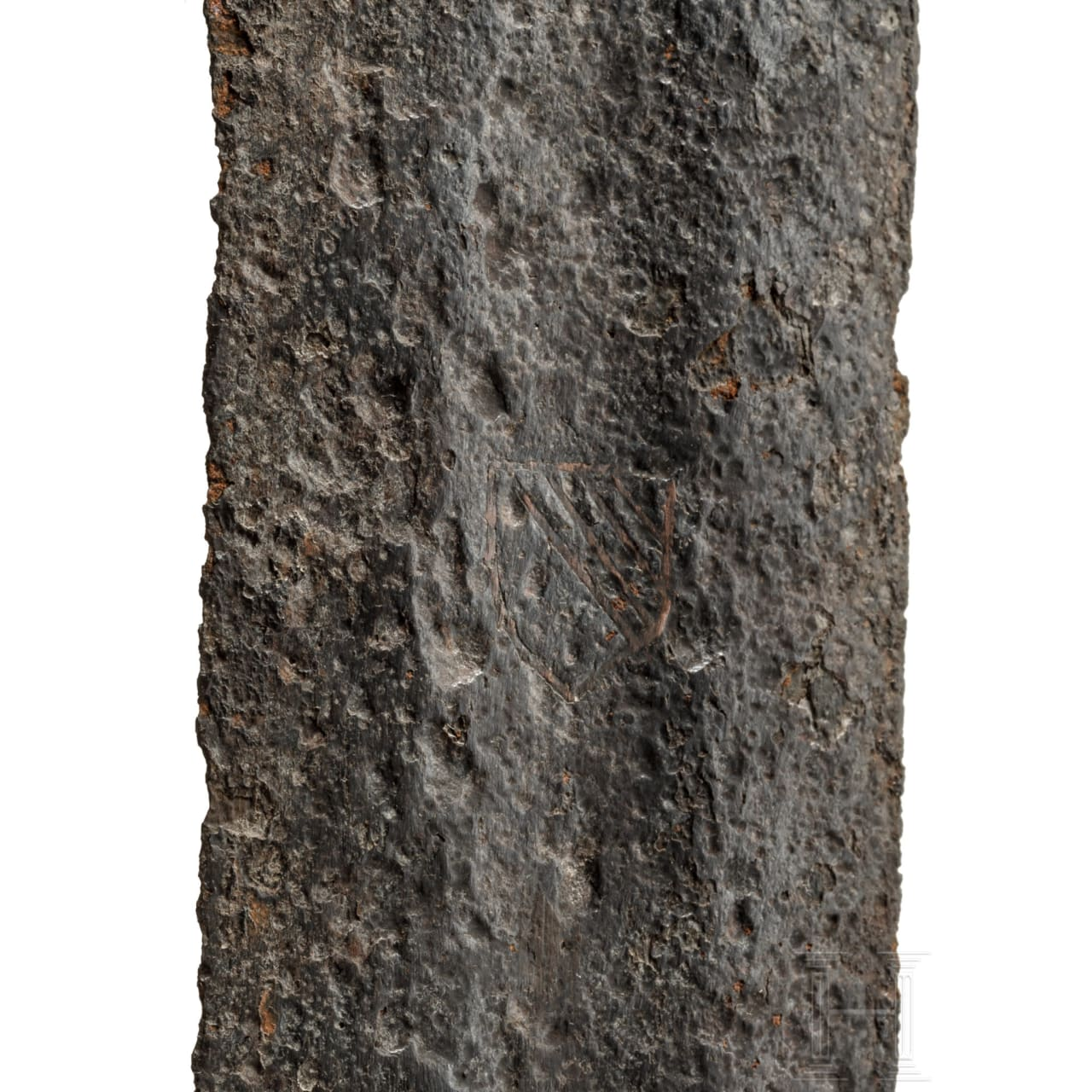Ritterliches Schwert mit eingelegtem Wappen, deutsch, 11. Jhdt.