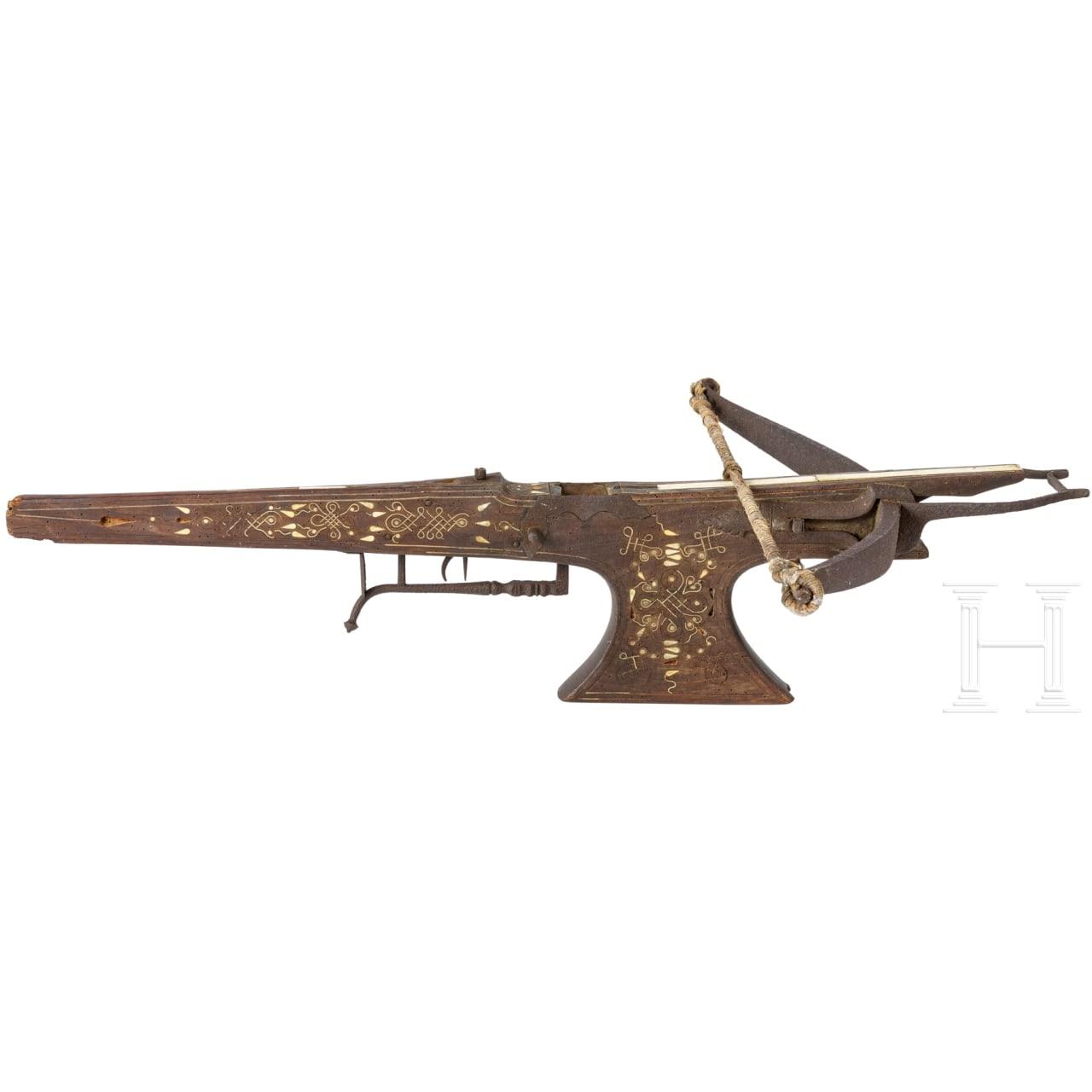 Beineingelegte Scheibenarmbrust, flämisch, um 1700