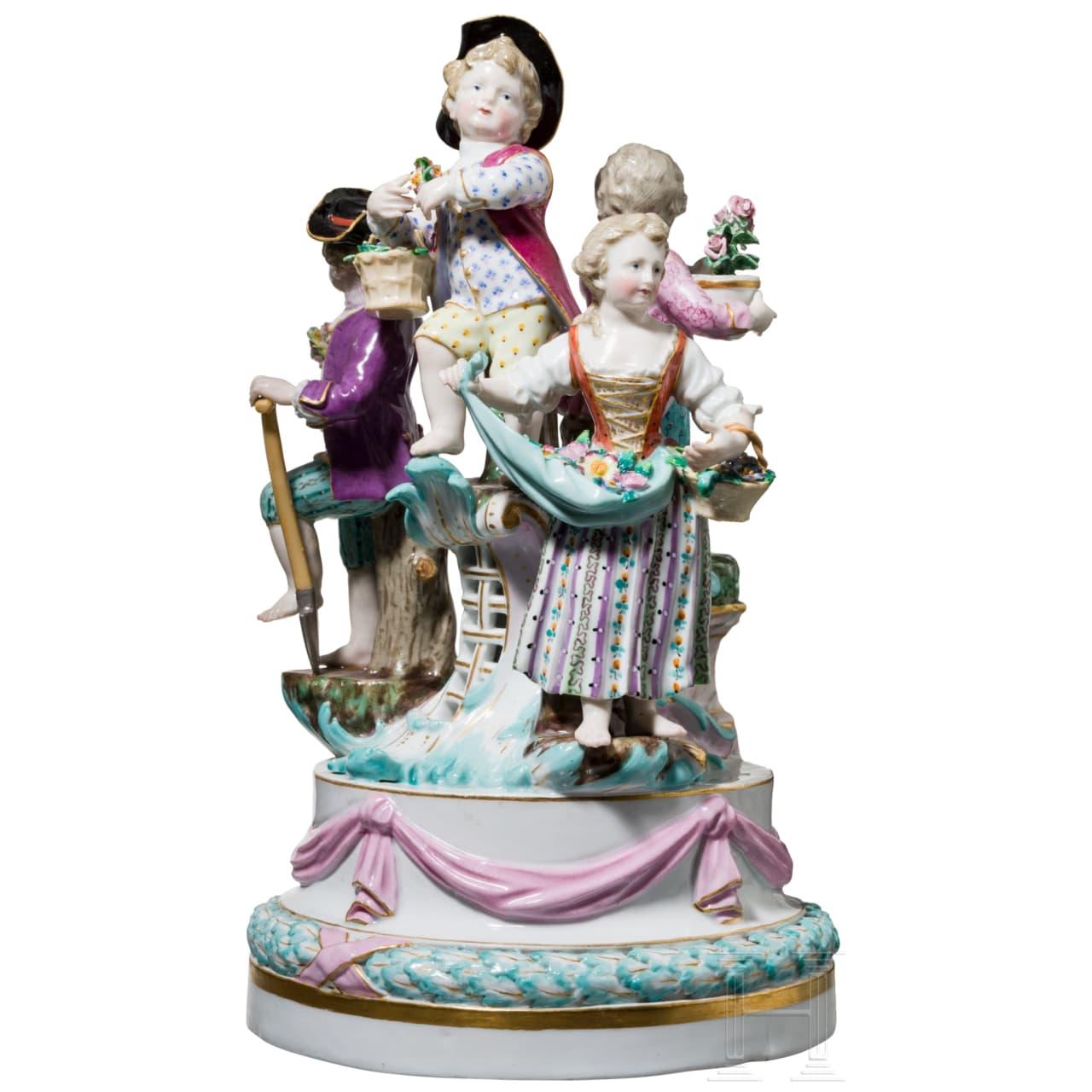 Kleines Surtout de table in Form einer Louis XVI-Girlande mit Gärtnerkindern, Meißen, 19. Jhdt.