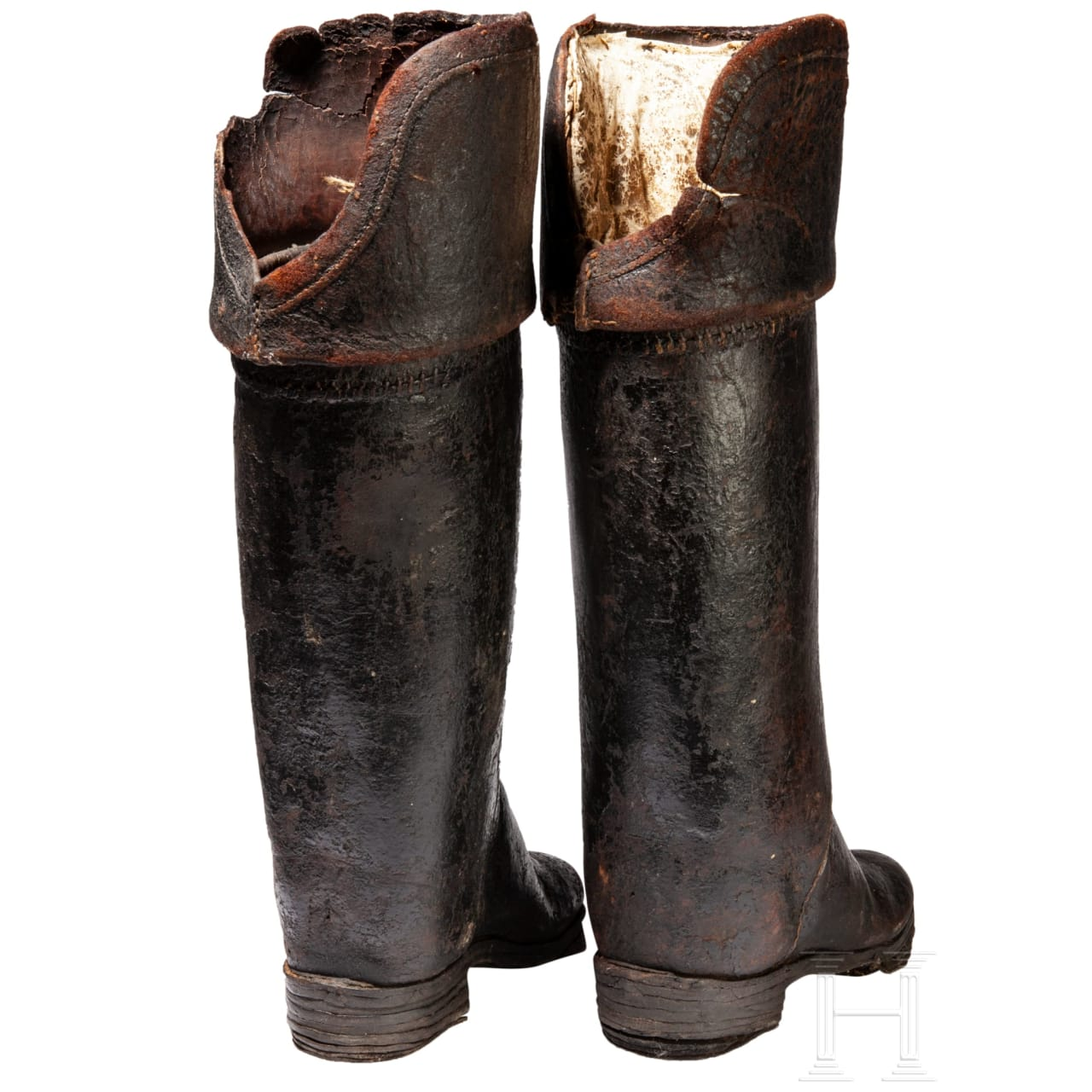 A pair of German or French cuirassier's boots, early 18th century
