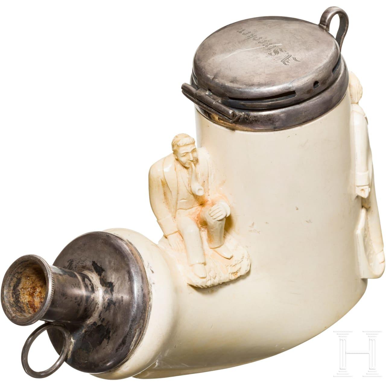Adolph Strecker (1822 - 1871) - a silver-framed meerschaum pipe bowl in chemist's case