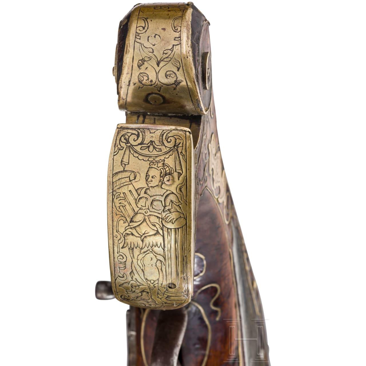 Seltene Mörser-Radschlosspistole mit Bronzelauf, Nürnberg, um 1590