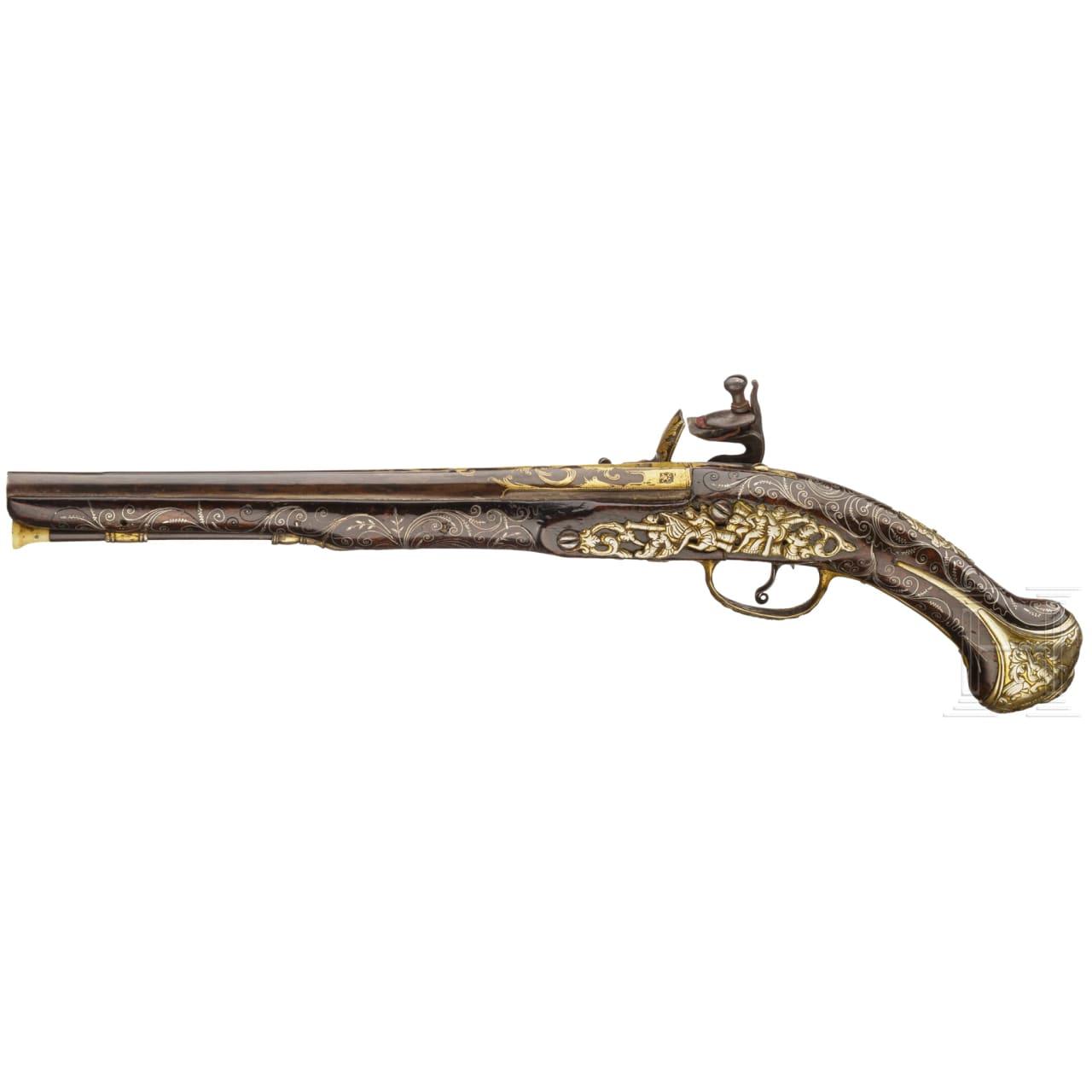Goldtauschierte Steinschlosspistole (Kubur), osmanisch, um 1800