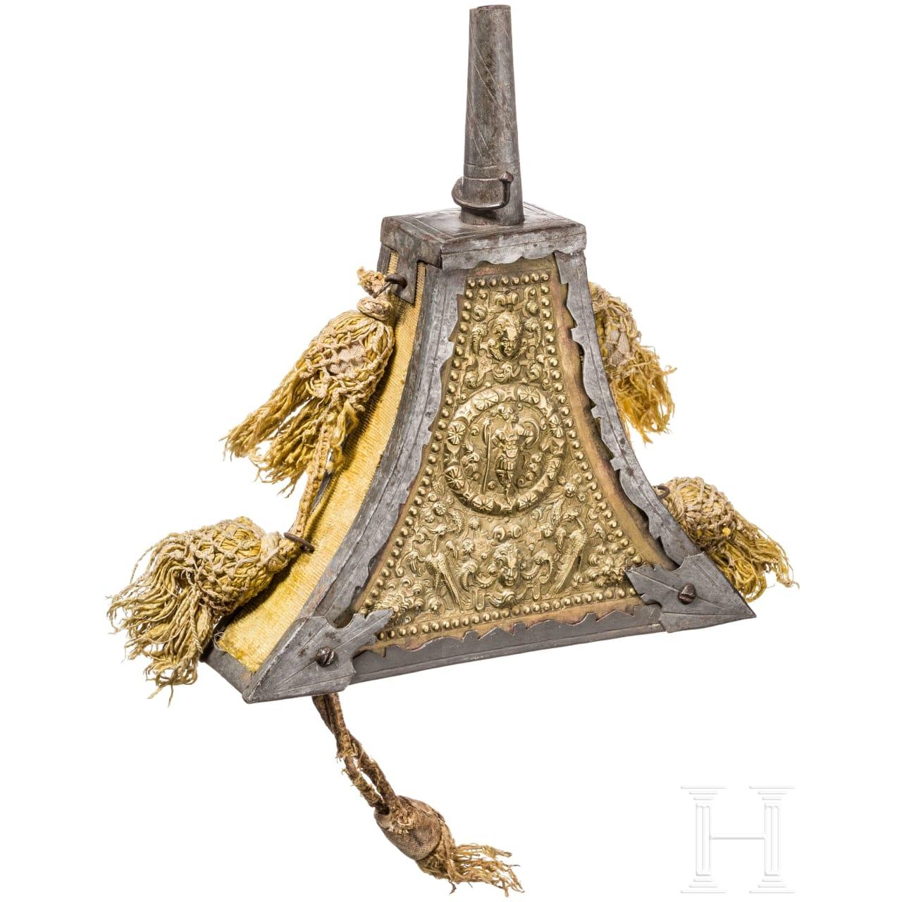 Große Luxus-Musketier-Pulverflasche, deutsch, um 1600