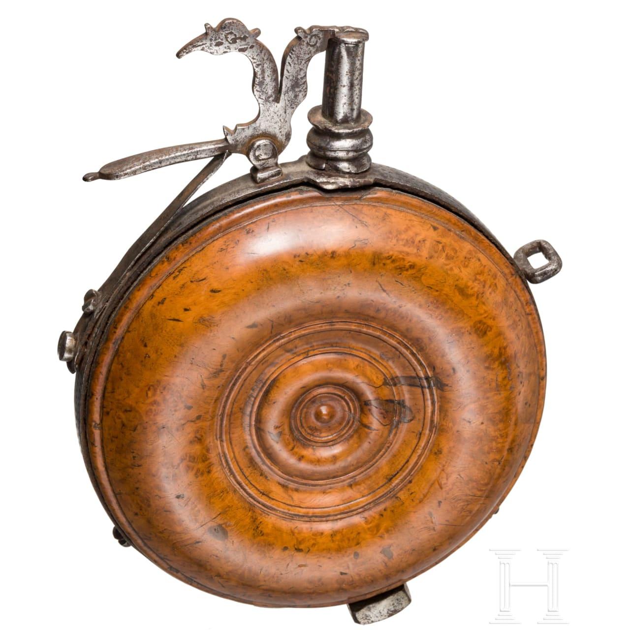 Hölzerne Pulverflasche, deutsch, um 1650