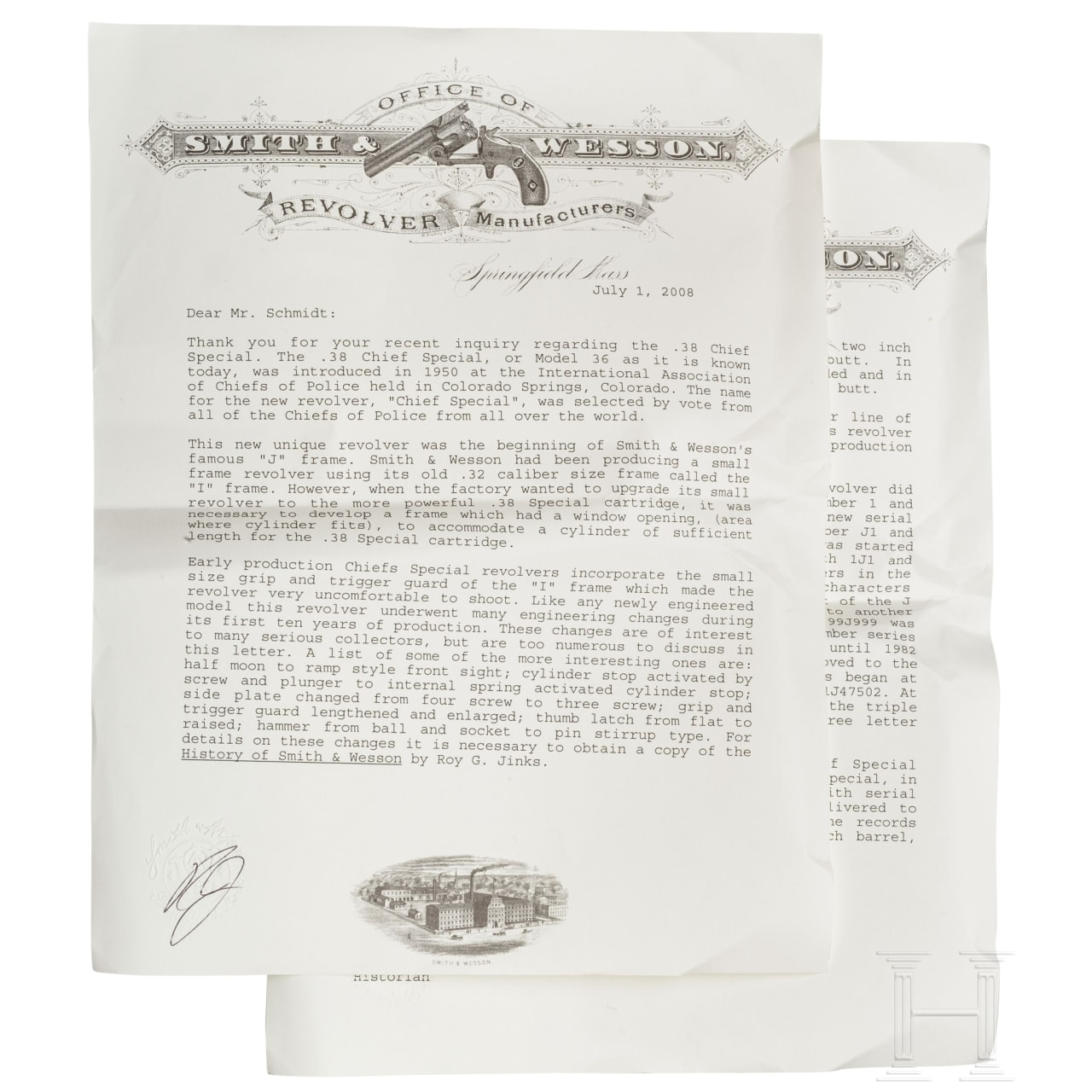 Smith & Wesson Mod. .38/.32 Terrier, original postwar (Pre-Model 36), mit Fabrikbrief, im Karton