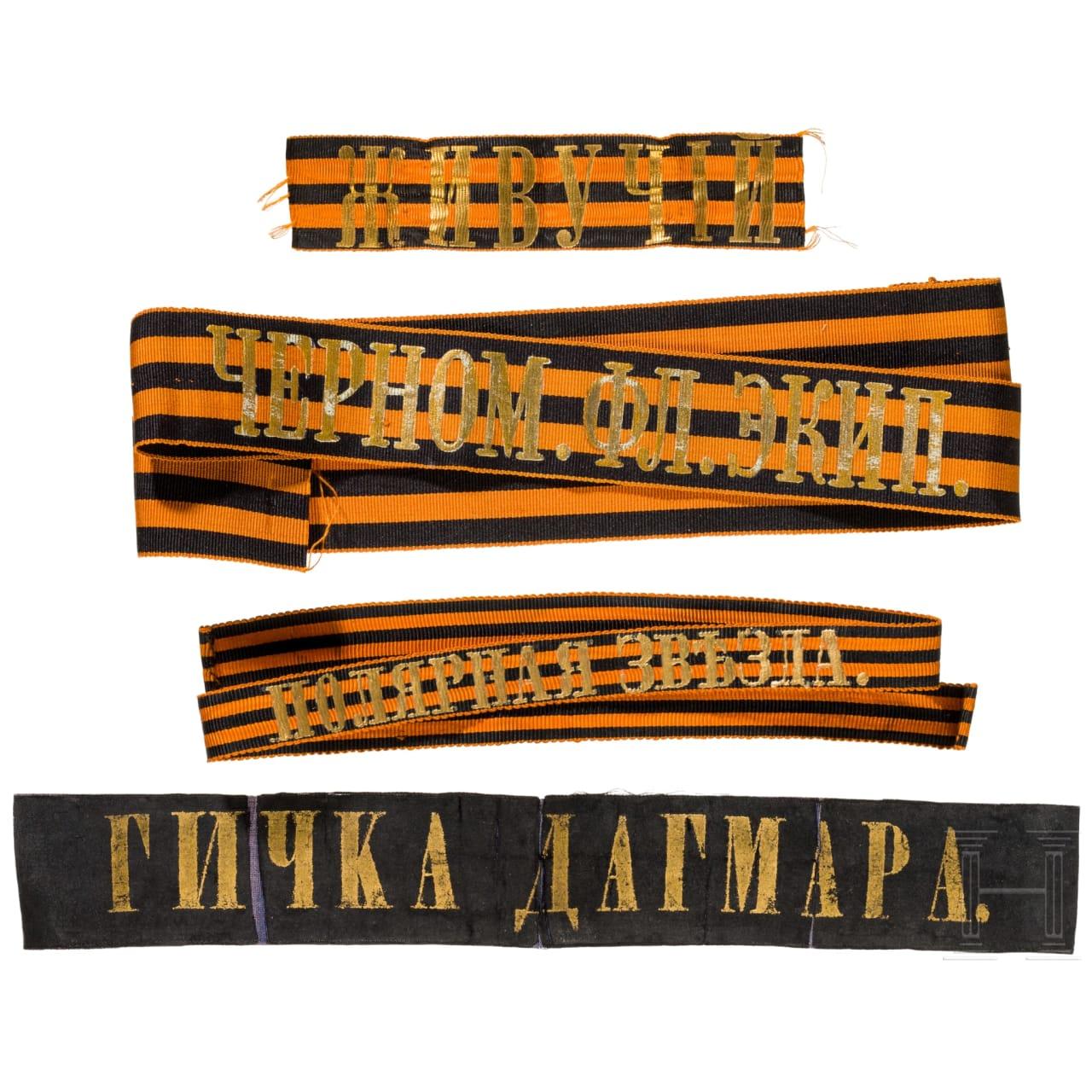 Vier Bänder für die Matrosenmützen, überwiegend zwischen 1870 – 1910