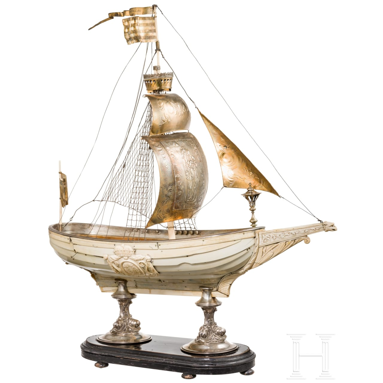 A magnificent French or German table centrepiece in the shape of a large ivory ship, 1st half of the 19th century
