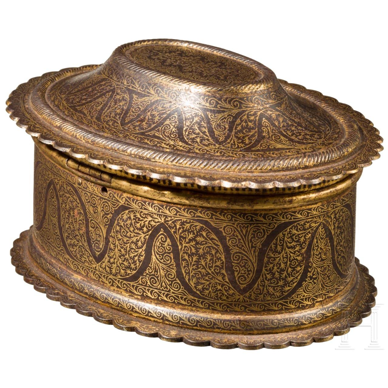 An Indian gold-damascened casket, Rajasthan, 19th century