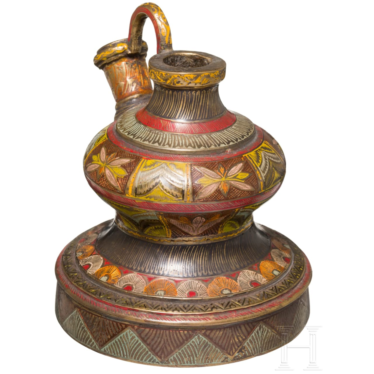 An Indian enameled Hookah-base, 19th century