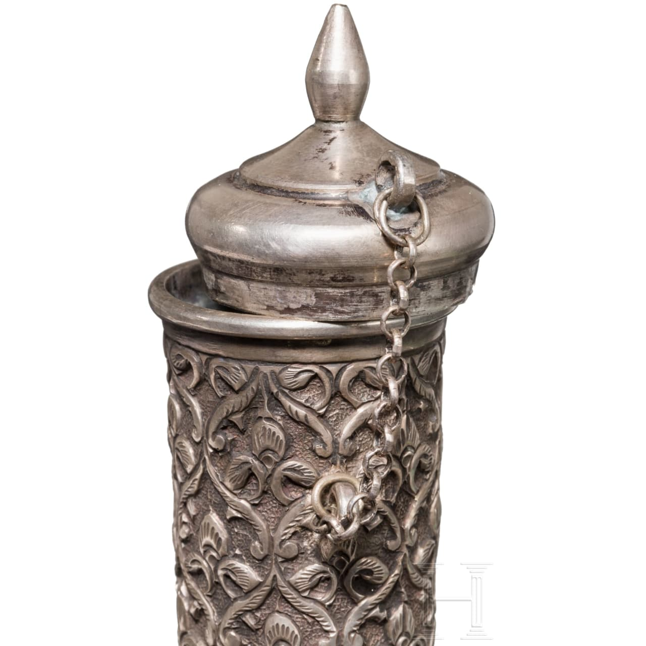 A velvet-covered, embroidered silver water flask, India, circa 1900
