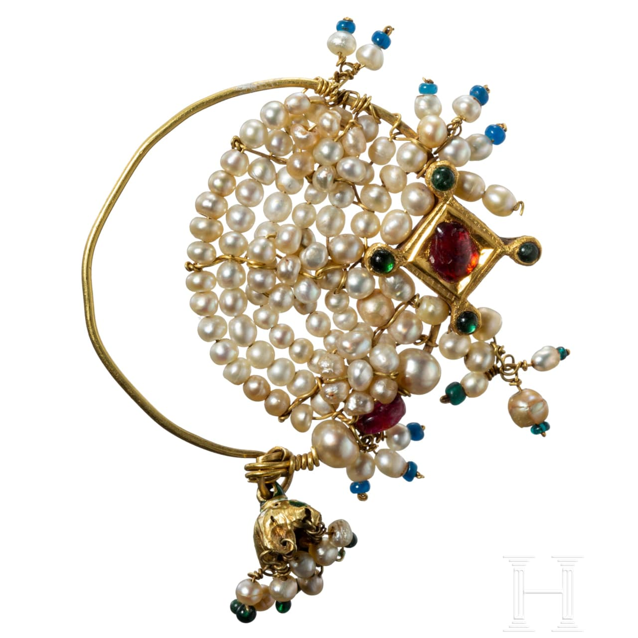 An Indian gold earring set with pearls and rubies, 18th/19th century