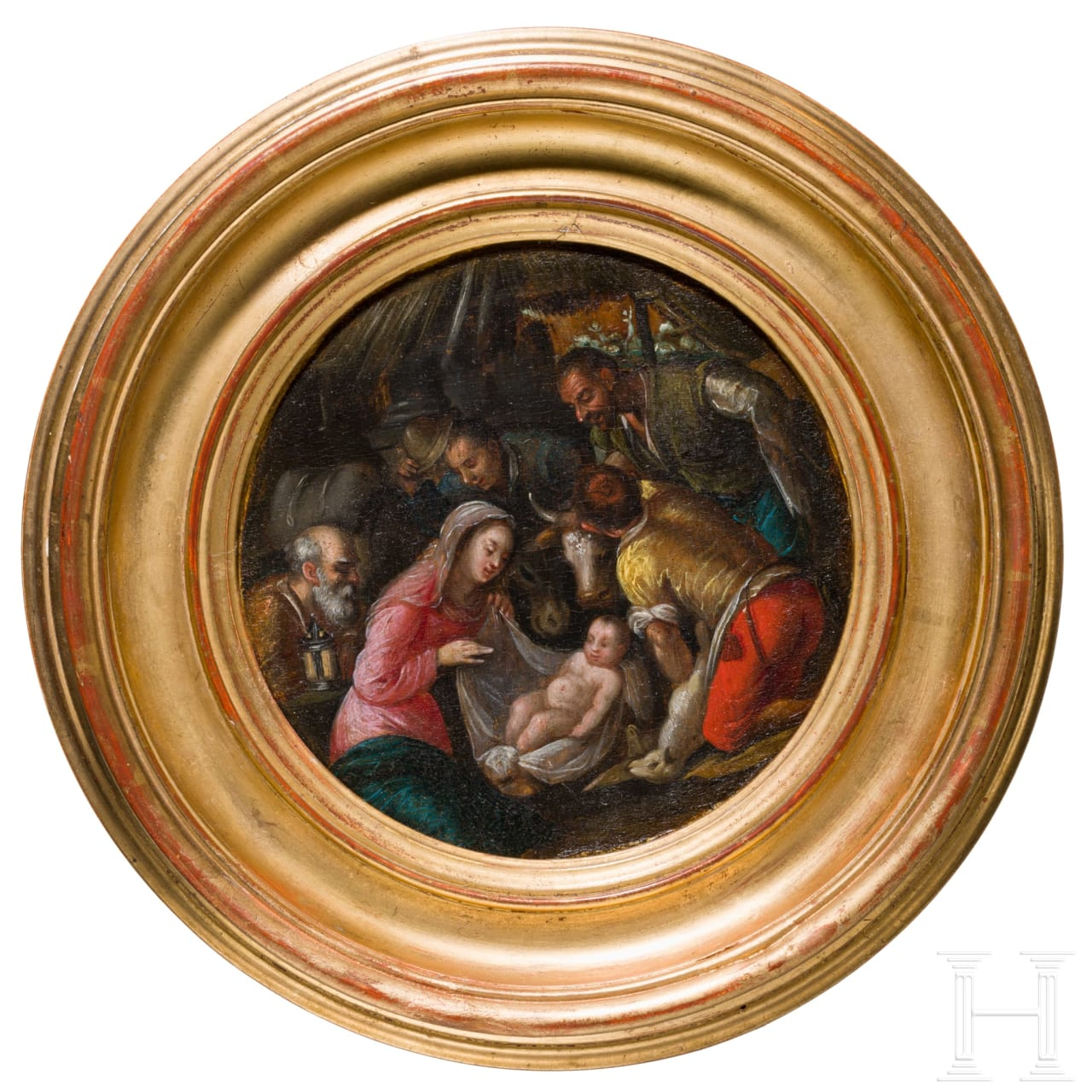 "A small tondo with ""The birth of Christ"", Antwerp school, late 16th century"