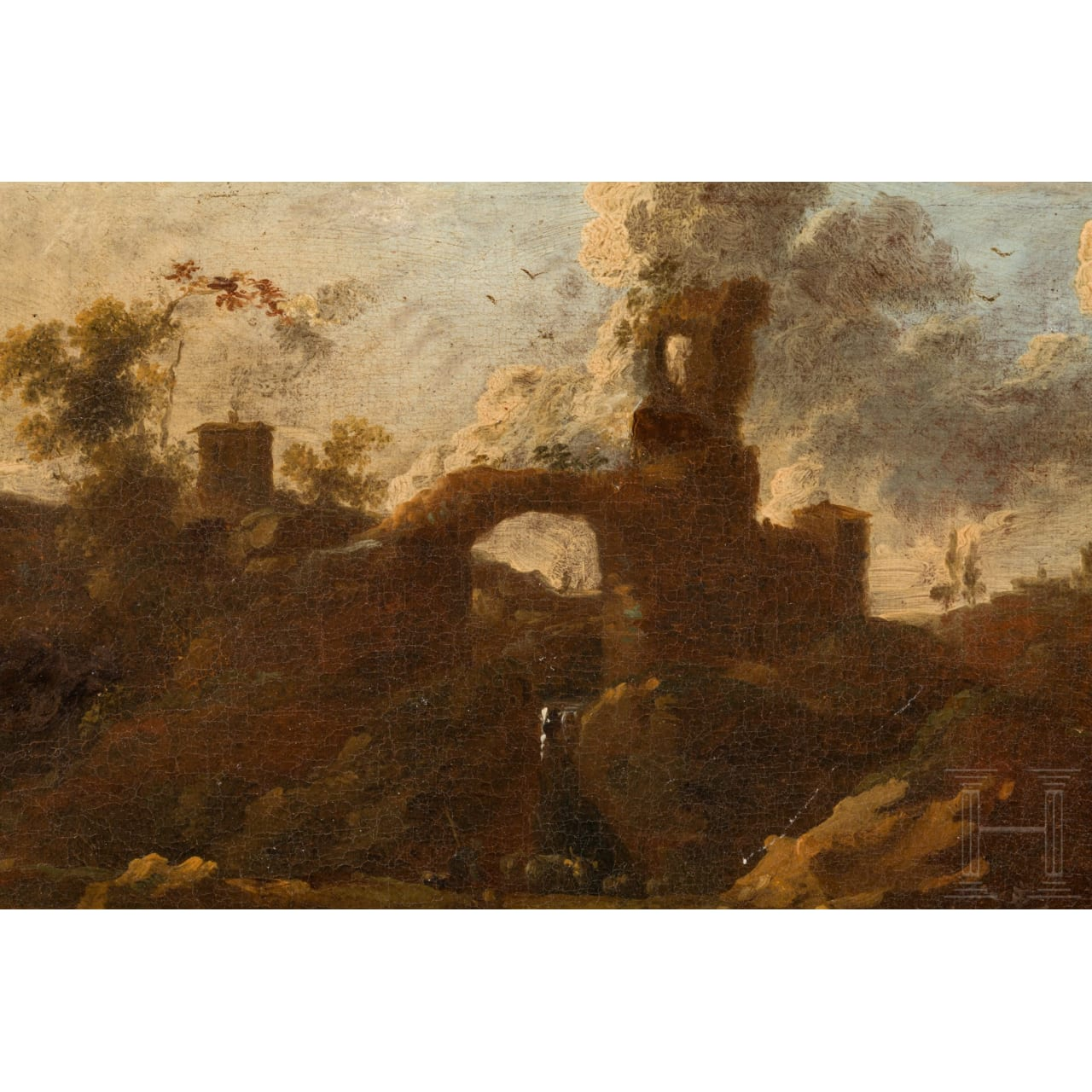 An oil painting - Herders in rocky Italian landscape, in the manner of Rosa da Tivoli, late 17th century