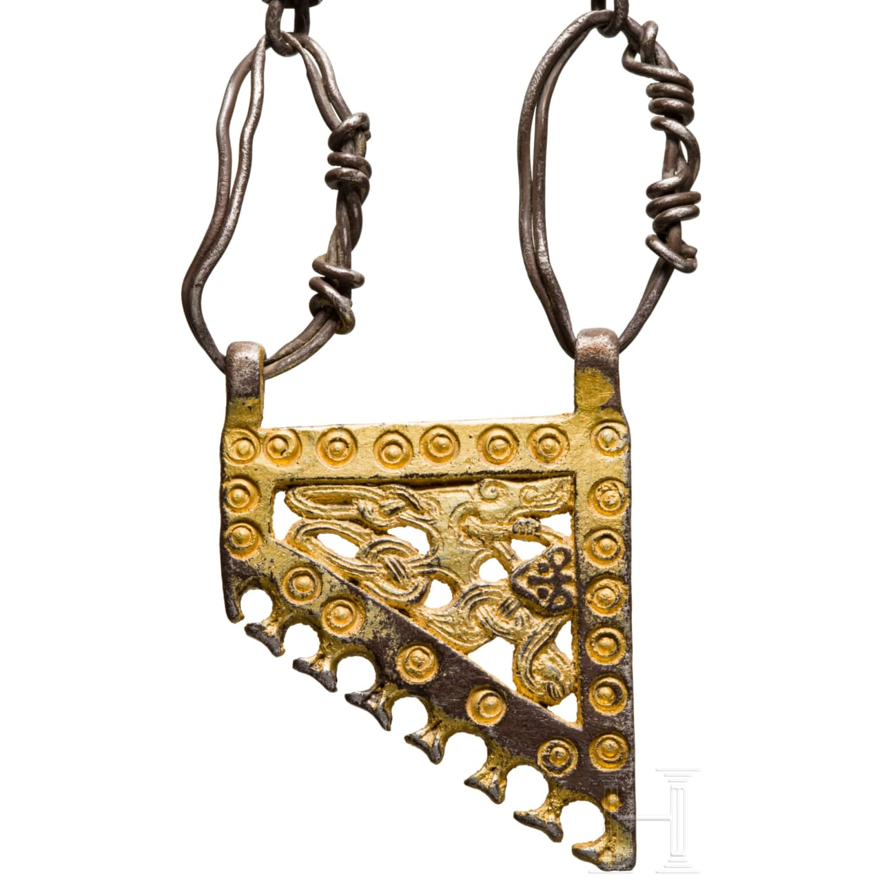 A Viking necklace with gold pendant, 9th – 10th century