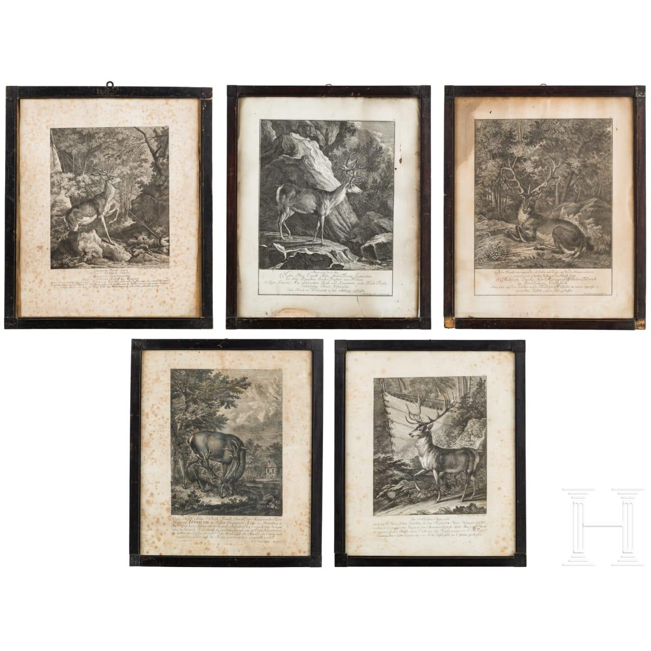 Fünf jagdliche Stiche, Elias Ridinger, Augsburg, um 1760