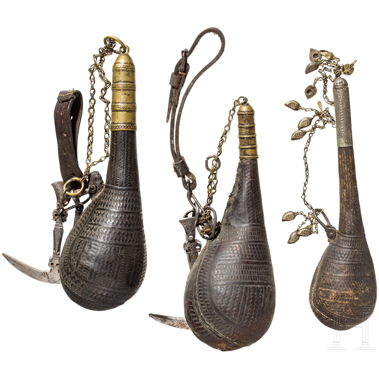 Drei Pulverflaschen, Afghanistan, 19. Jhdt.