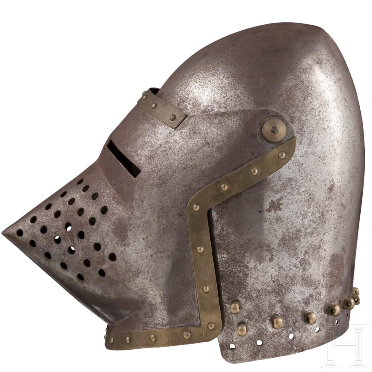 Beckenhaube mit Visier (Hundsgugel) im Stil des frühen 15. Jhdts.