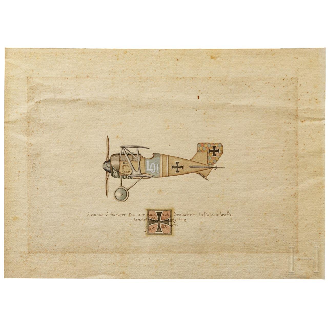 """Ernst Udet - Zeichnung einer """"Siemens-Schuckert D. III der Kaiserlich Deutschen Luftstreitkräfte - Jagdstaffel 4 Metz 1918"""", datiert und signiert 1926"""