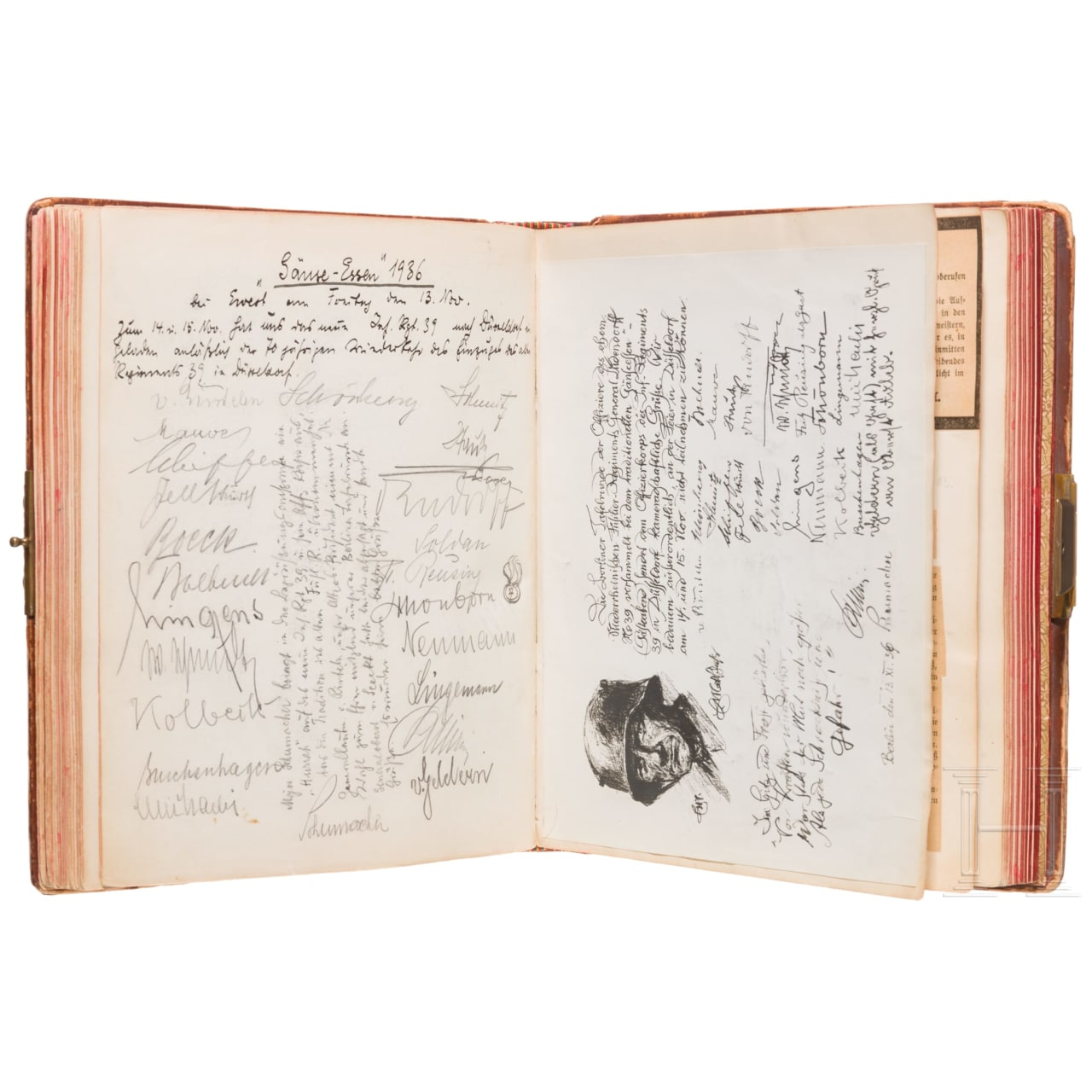 """Füsilier-Regiment """"General Ludendorff"""" (Niederrheinisches) Nr. 39 - Erinnerungsalbum mit 2000 Unterschriften"""