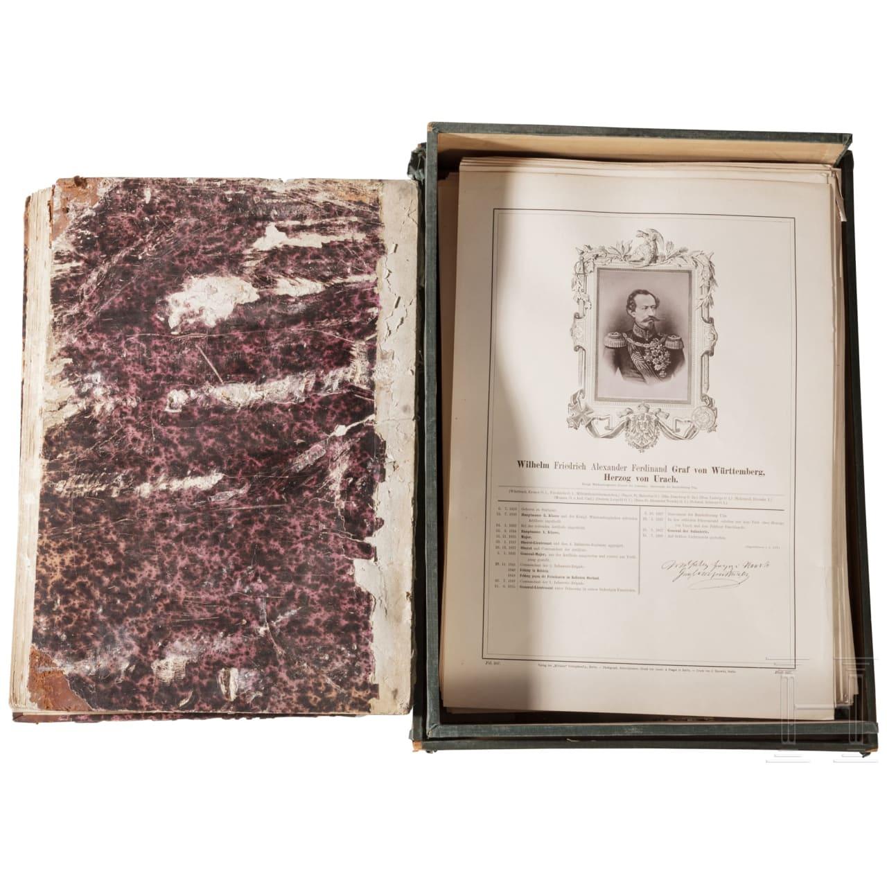 """Mappe mit Kunstdrucke """"Glasenapp - Die Generale der Deutschen Armee"""", um 1874"""