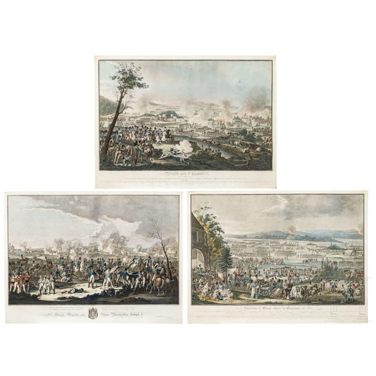 Johann Lorenz Rugendas (1775 - 1826), drei großformatige kolorierte Radierungen mit Szenen aus den Napoleonischen Kriegen in Bayern