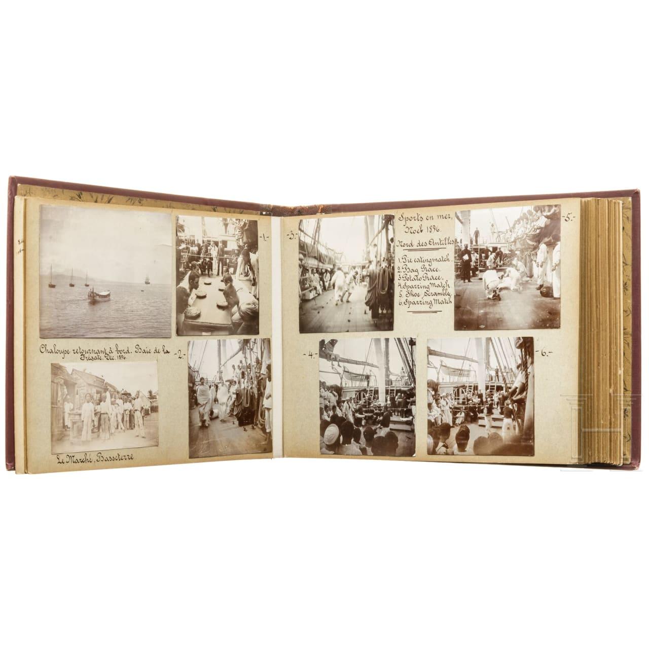 Fotoalbum eines Segelschiff-Matrosen der US-Navy, datiert 1896 - 1899