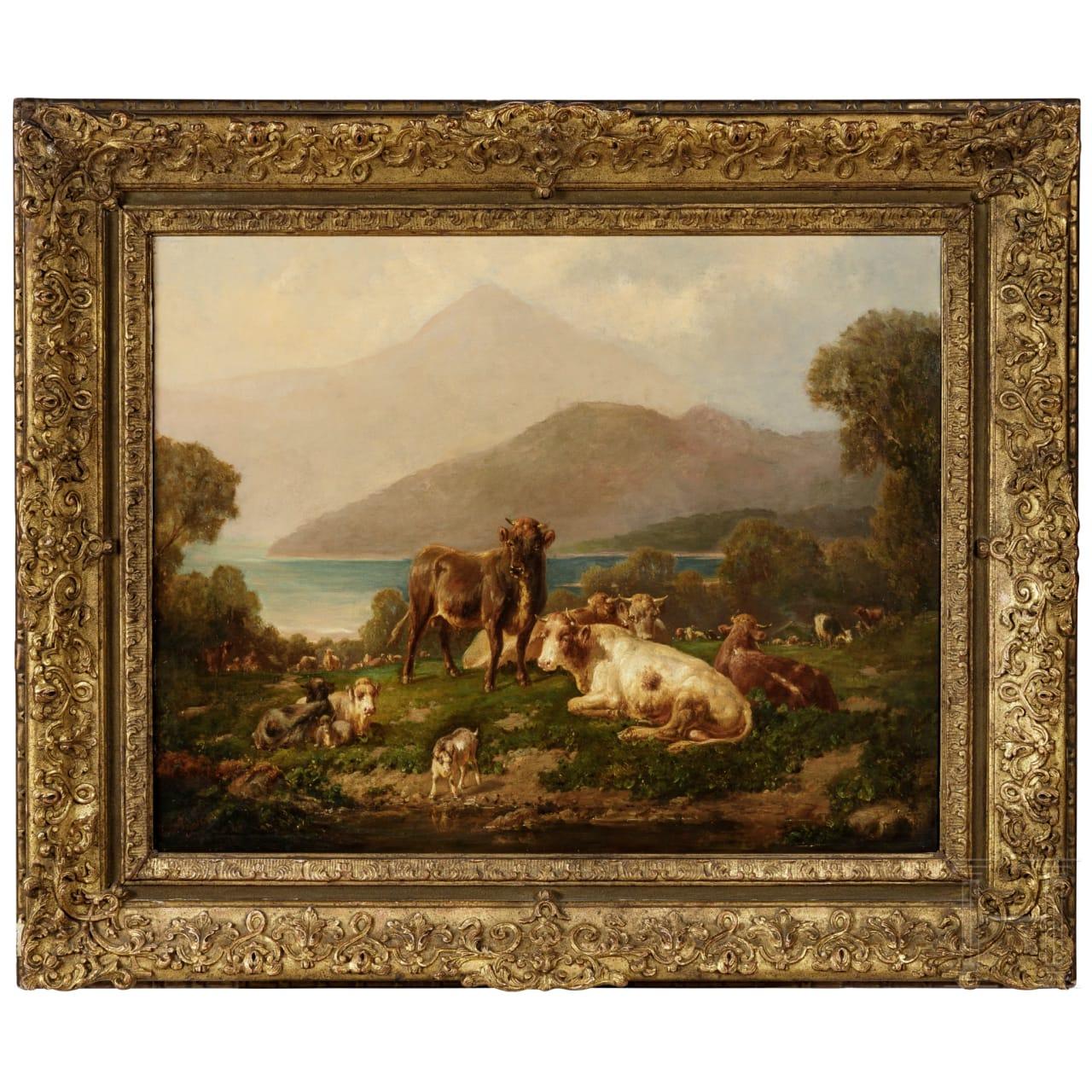 "Louis (Ludwig) Reinhardt, ""Cows near a mountain lake"", circa 1870"