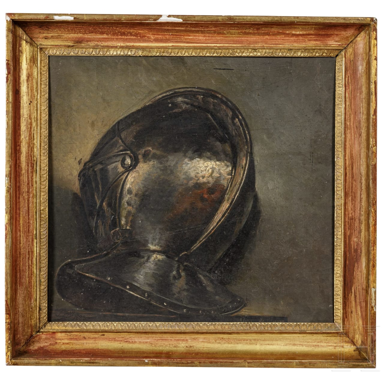 A painting of a coat helmet, signed J. PAY and dated 1883