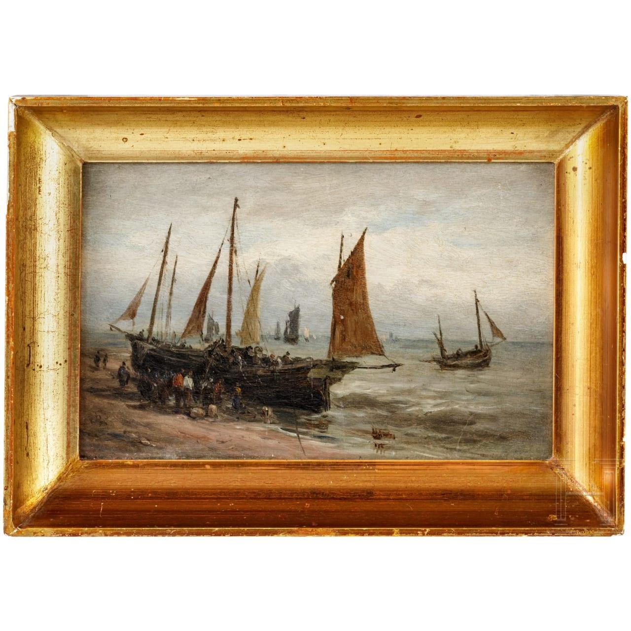"""Fischerboote am Meer"" - (attrib.) Paul Jean Clays (1819 - 1900)"