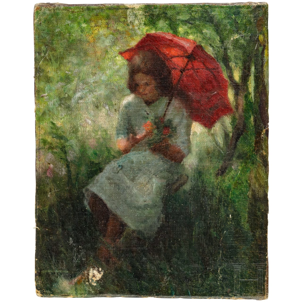 """Girl with red umbrella"", impressionist painting, German or French, late 19th century"