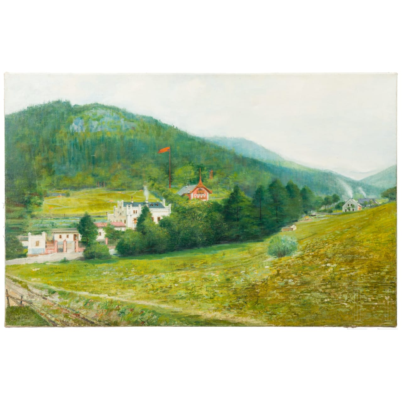 """An oil painting, """"Swiss Mountain Landscape"""", dated 1895"""