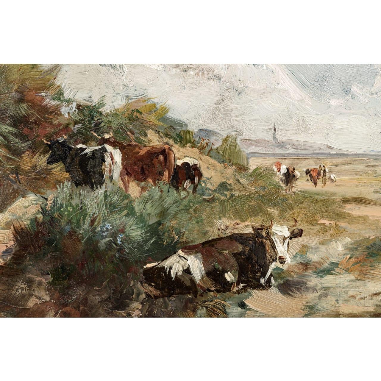 """A German or Dutch painting """"Cows at the Beach"""", circa 1900"""