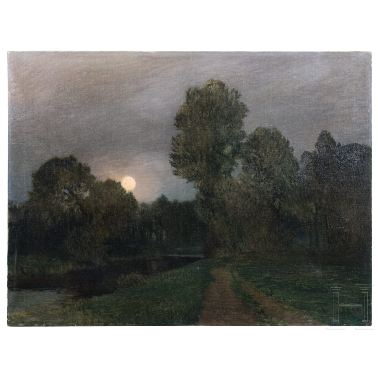 A park landscape in moonlight, Ch. Leitner, dated 1914