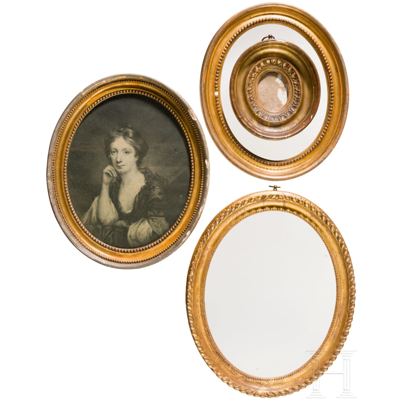 A set of four oval French neo-classical frames, 19th century