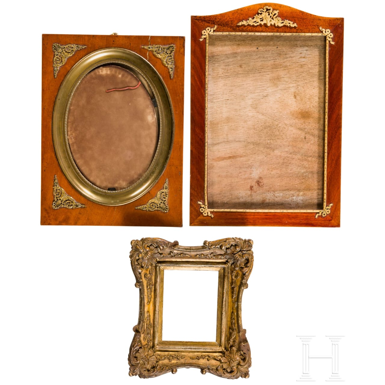 A set of three neo-classical German portrait frames, 19th century
