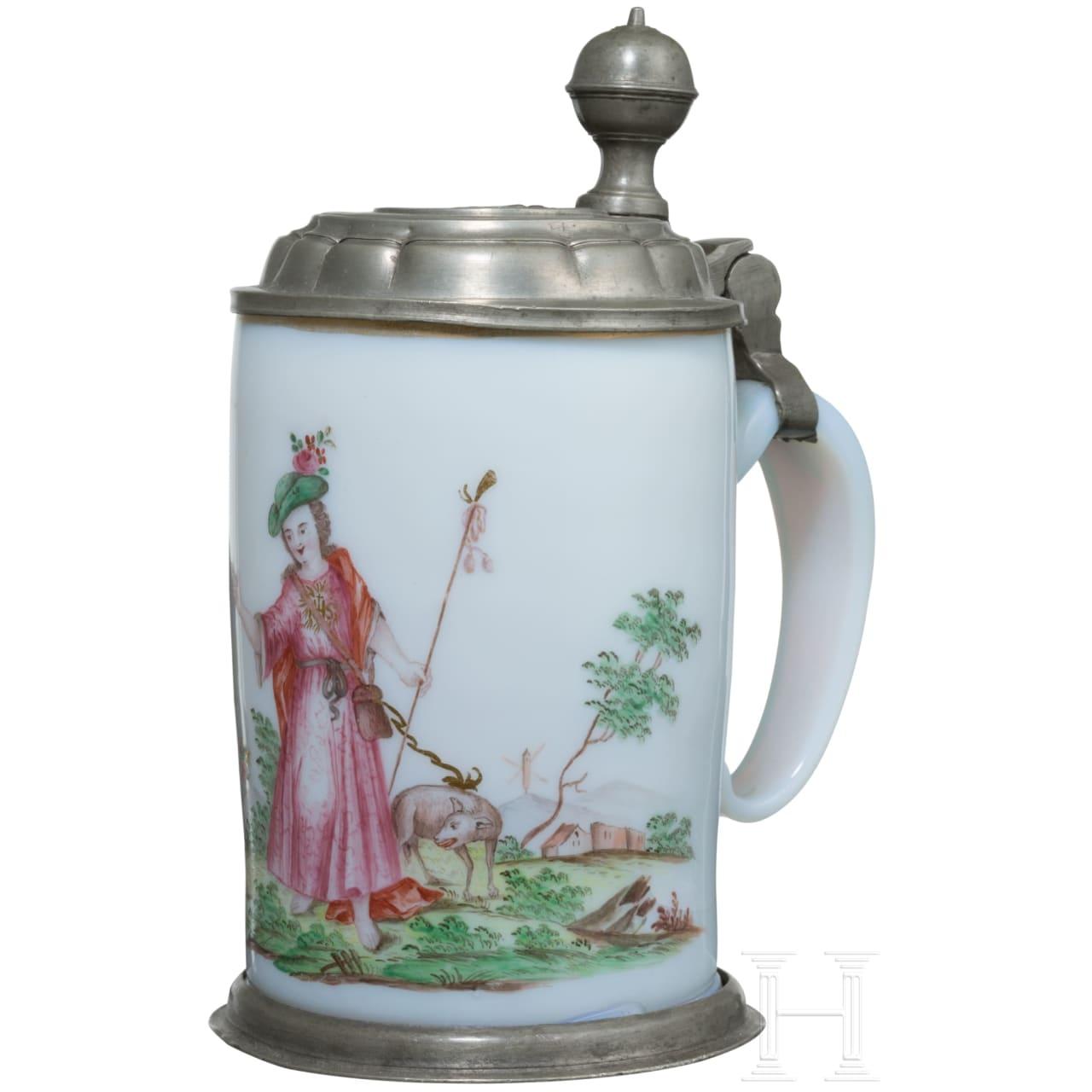 Milchglaskrug mit Hirtenszene, Böhmen, 2. Hälfte 18. Jhdt.
