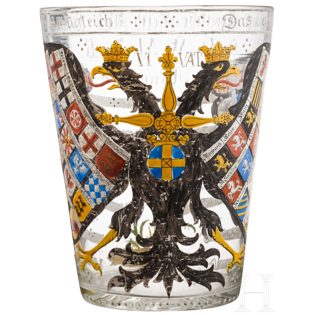 Großes Wappenglas, deutsch, 18./19. Jhdt.