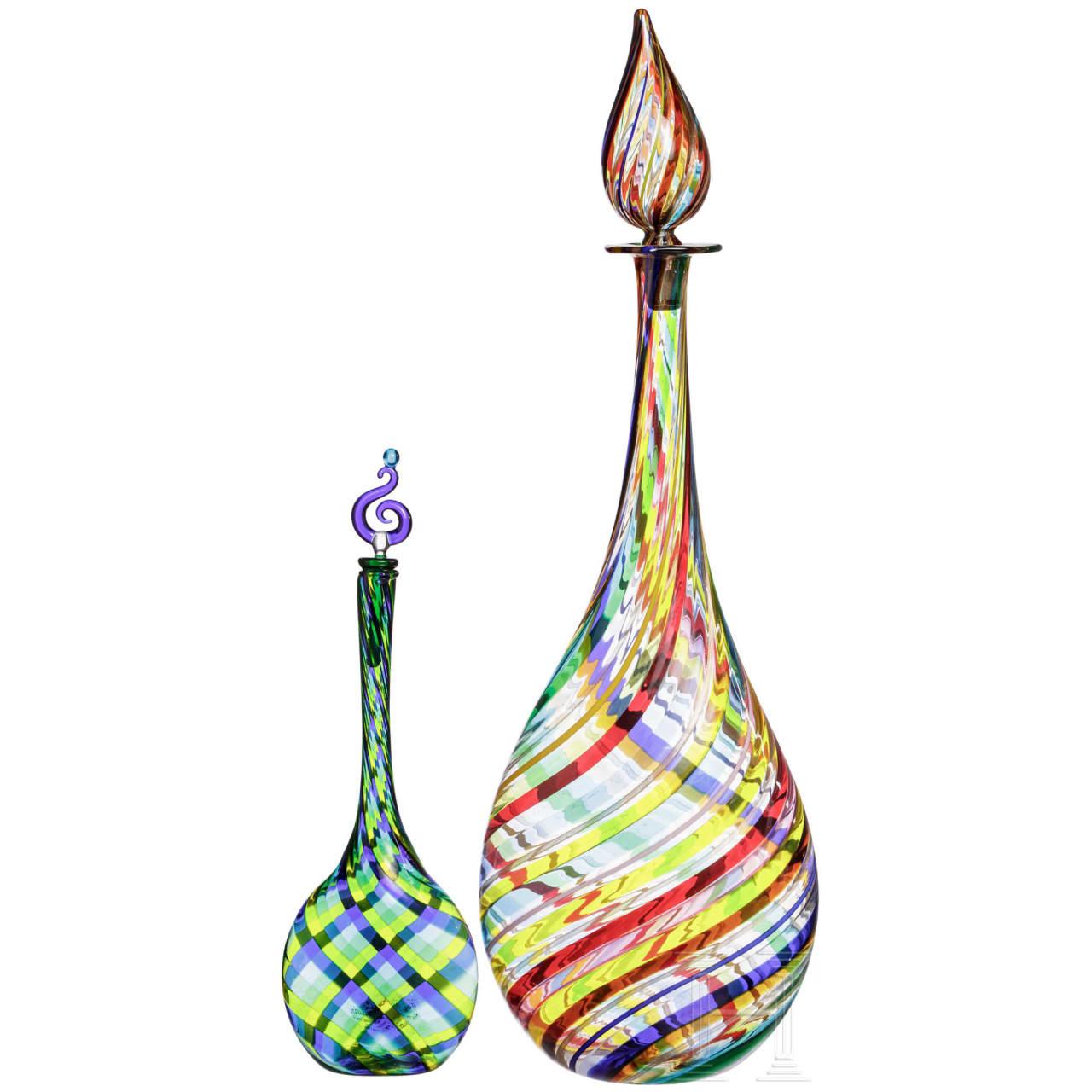 Zwei Glasflaschen, Murano, 20. Jhdt.