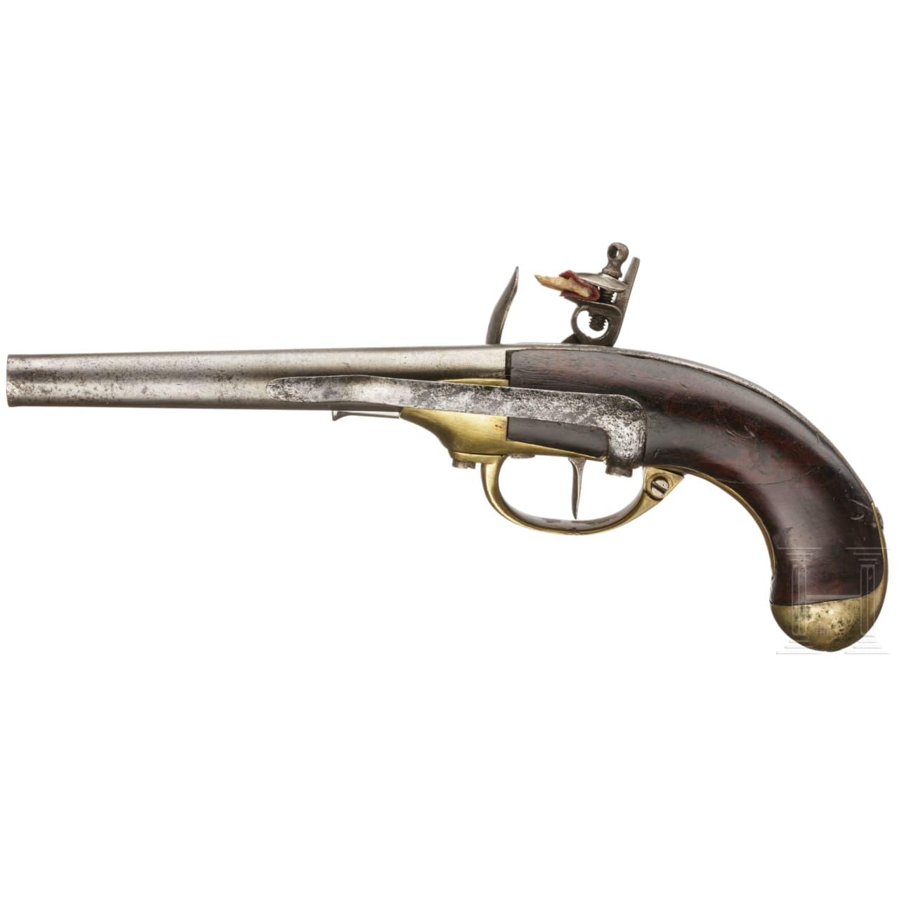 A French flintlock cavalry pistol, Mod. 1777 1st pattern, St. Etienne, circa 1780