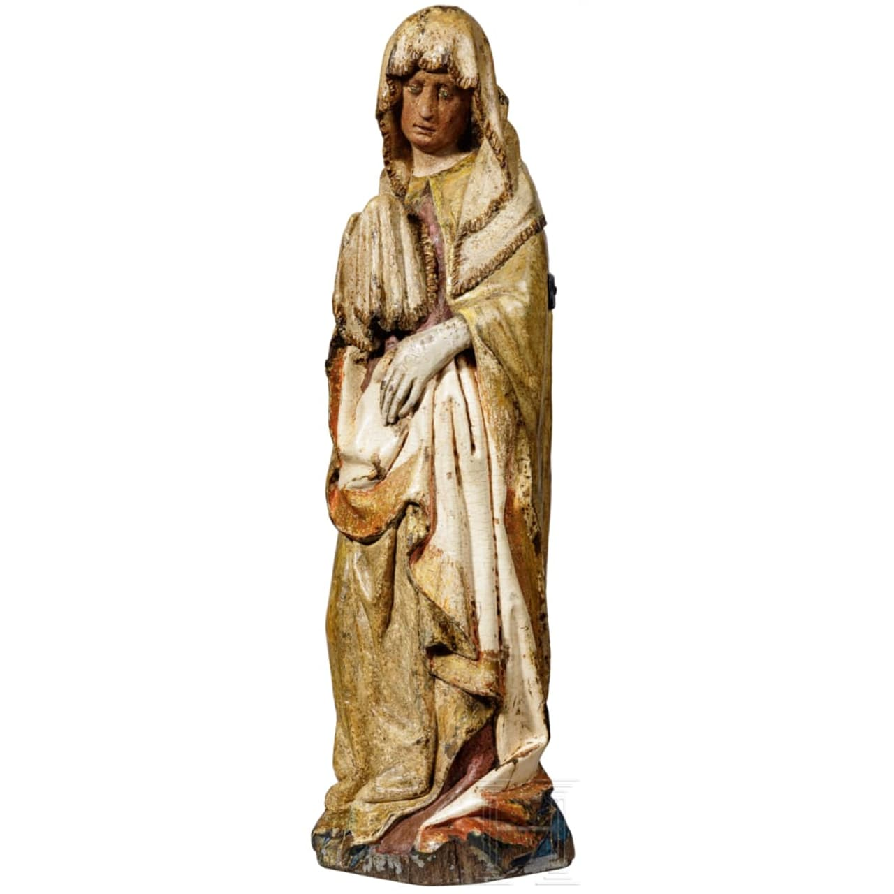 An exceptional Gothic Madonna Mater Dolorosa from the Lower Rhine area, 15th century