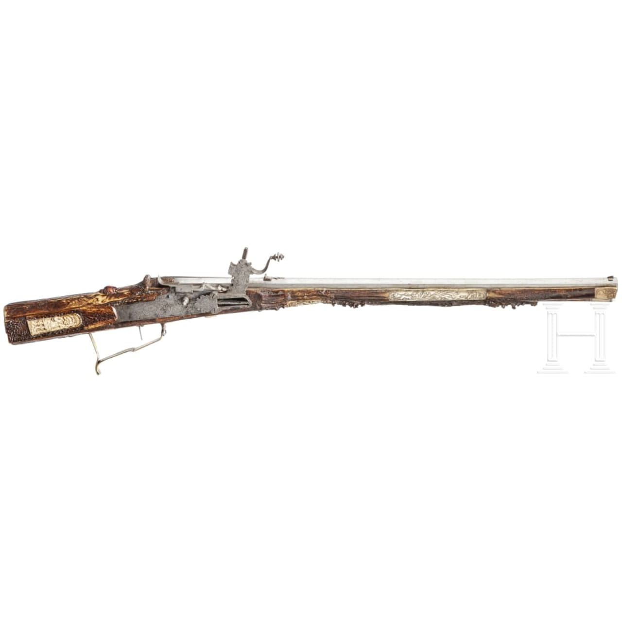 A wheellock rifle with staghorn stock, a historicism reproduction composed of original parts