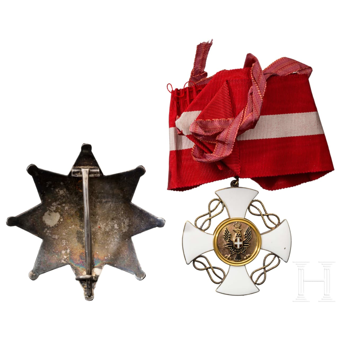 An order of the Italian Crown - a Grand Officer's breast star and cross, circa 1940