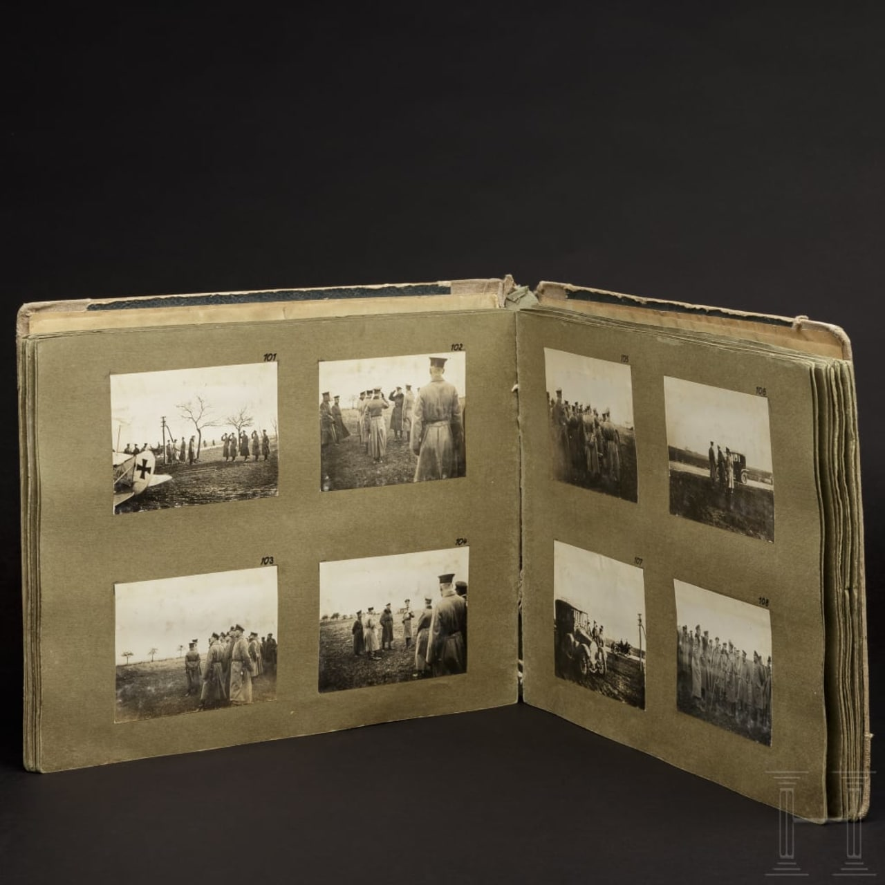A photo album of a German aviation department in World War I near Verdun in France