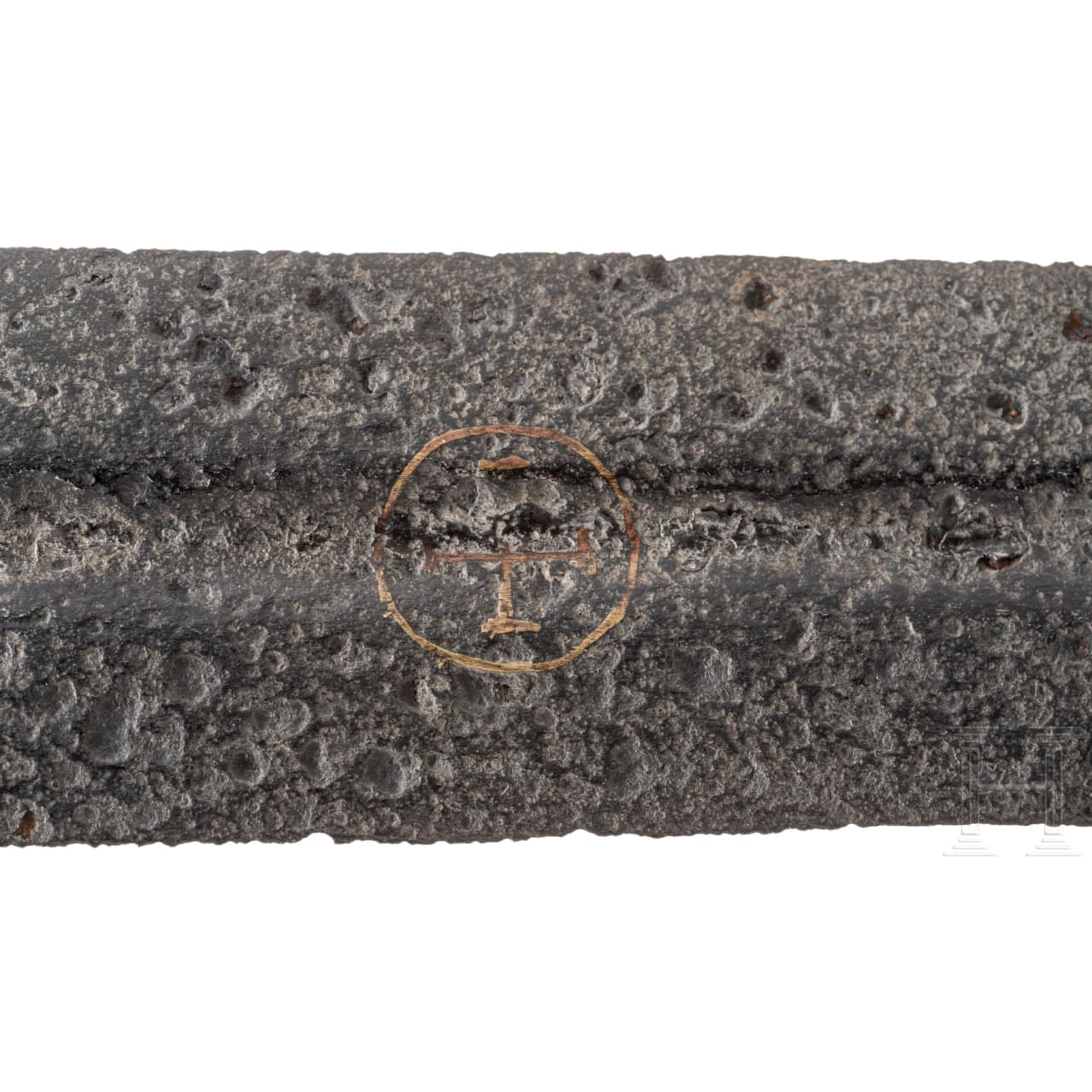 A German Gothic medieval sword with gold-inlaid blade, circa 1250